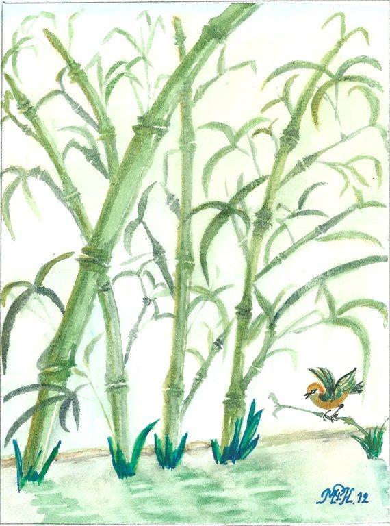 "Aquarelle n°4 - ""Bambous"""