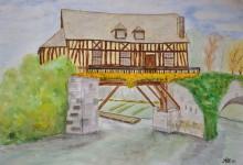 """Aquarelle n°24 : """"Le vieux moulin à eau de Vernon"""""""