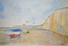 """Aquarelle n°27: """"Barque sur la plage à marée basse"""""""