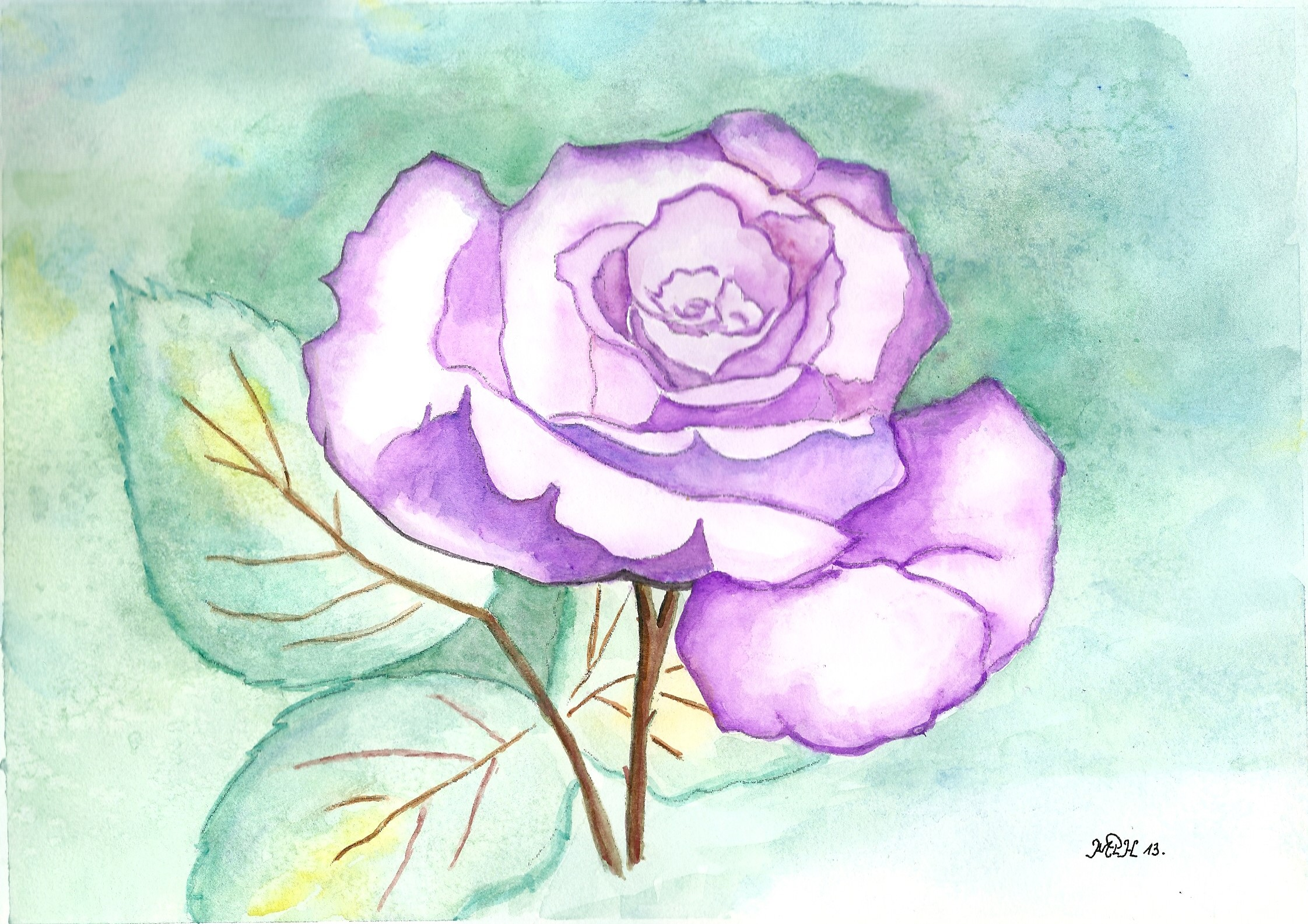 "Aquarelle n°18: ""Rose Solo"""