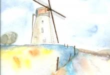 """Aquarelle n°21 : """"Moulin à vent"""""""