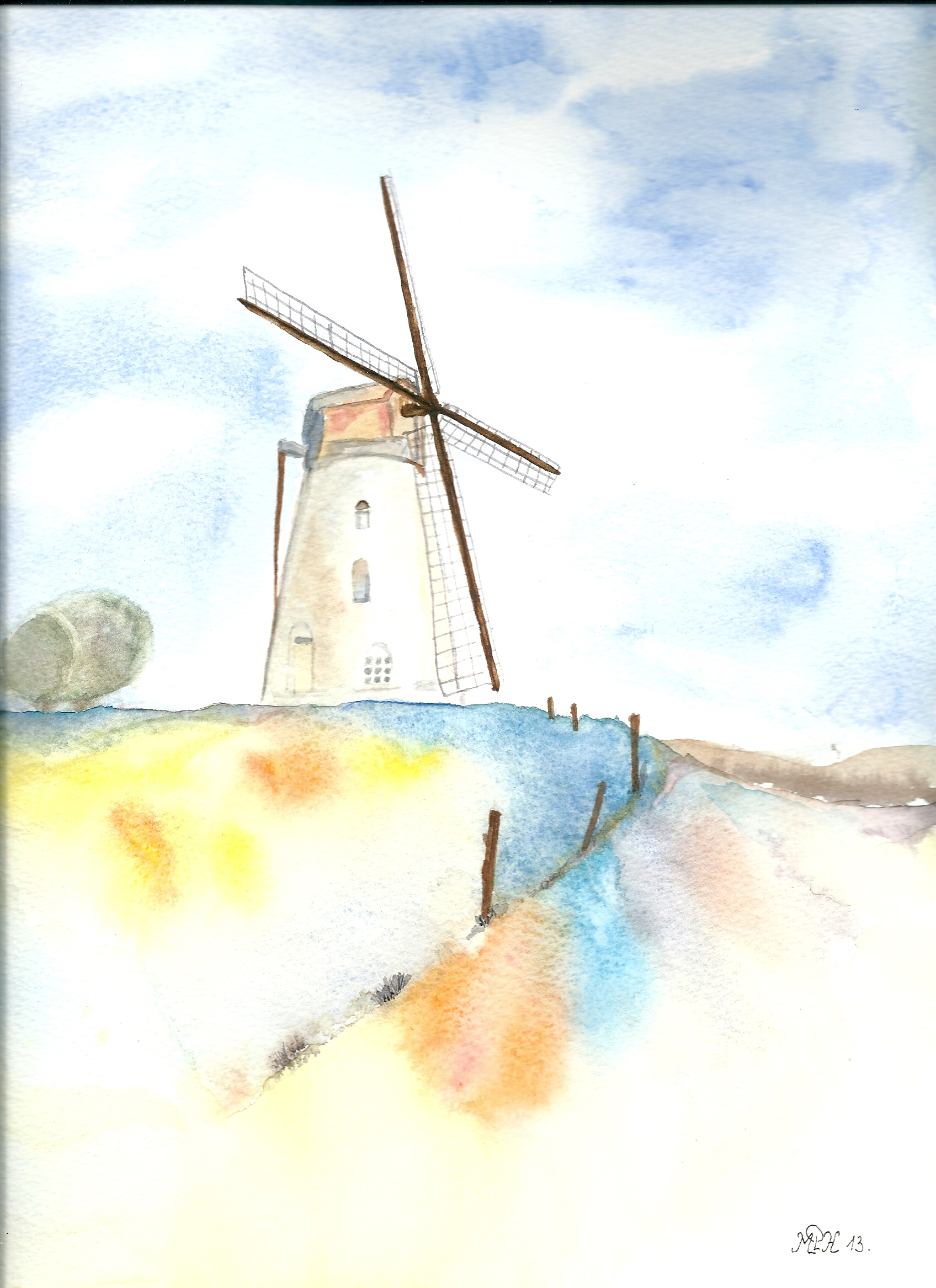 "Aquarelle n°21 : ""Moulin à vent"""