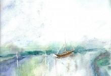 """Aquarelle n°22: """"Hivernage sur La Vilaine"""""""