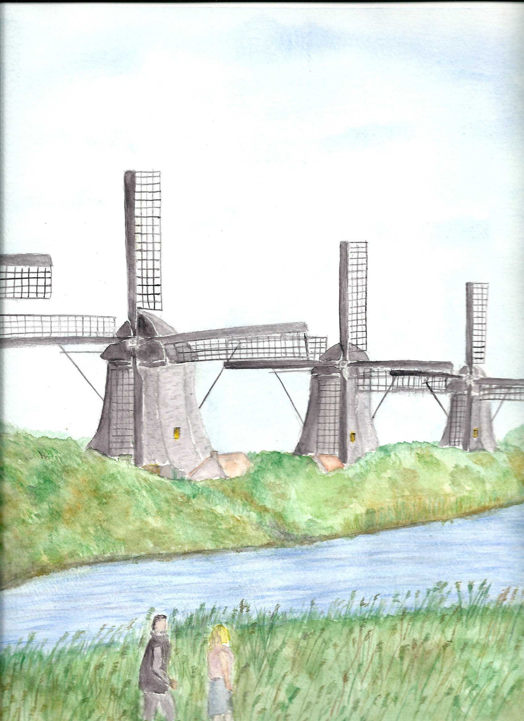 "Aquarelle n°28: ""Moulins à vent du Kinderdijk"""