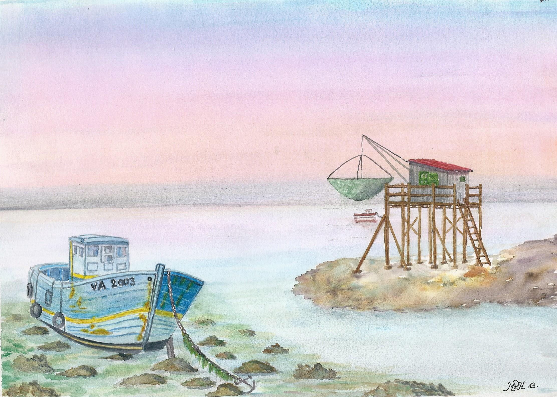 """Aquarelle n°32: """"Chalutier à marée basse"""""""
