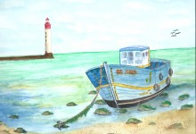 """Aquarelle n° 35: """"Chalutier à marée basse"""""""