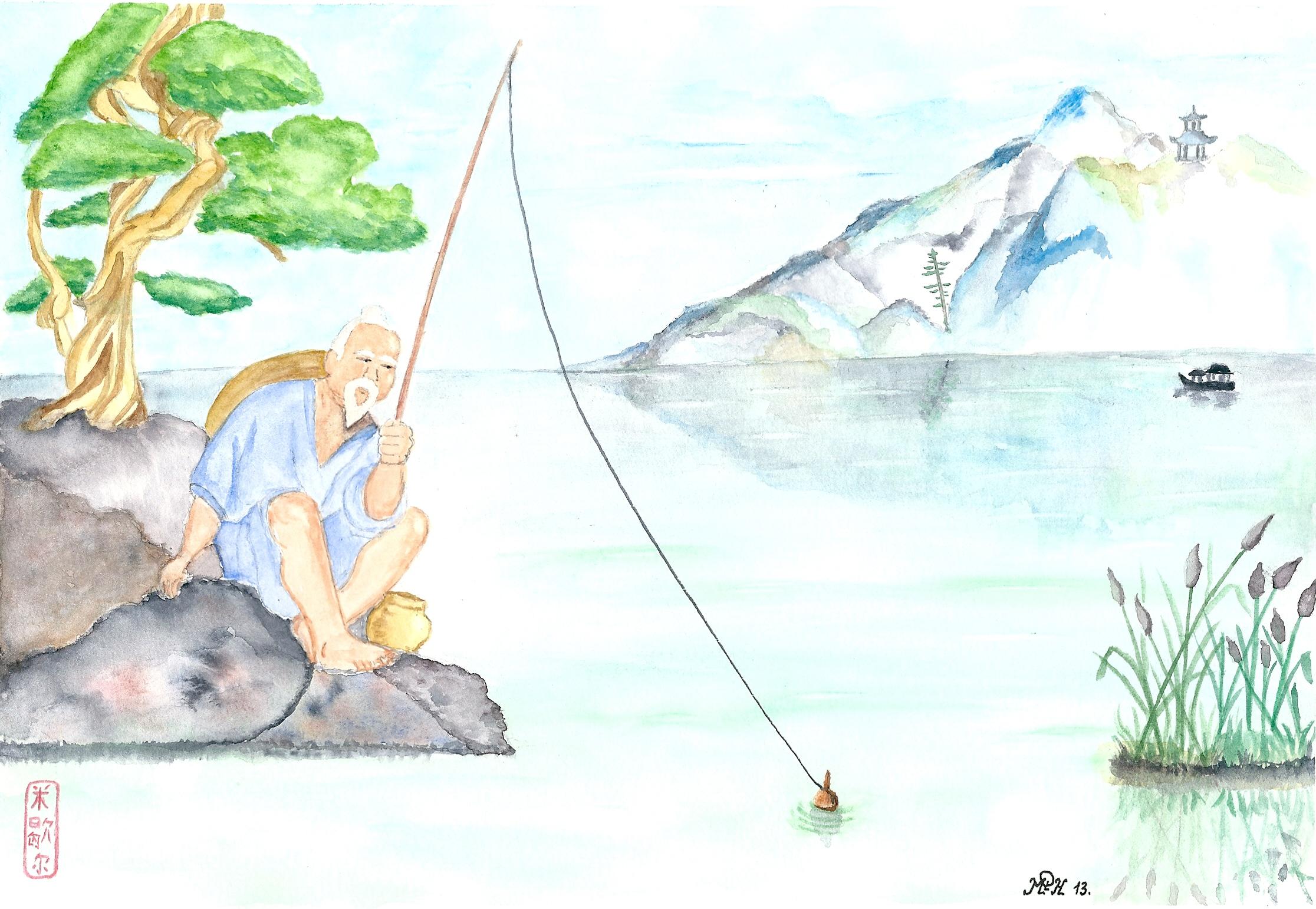 "Aquarelle n°36: ""Le pêcheur""   旧中国渔民"