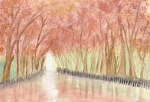 """Aquarelle n°38: """"Canal en Automne"""""""