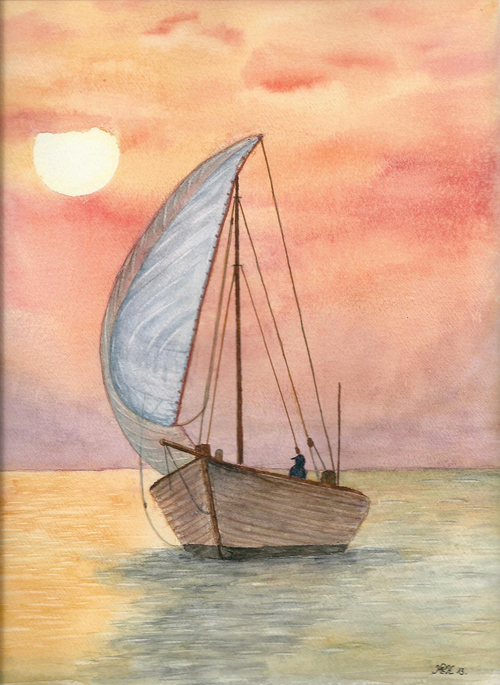"""Aquarelle n°42: """"Navigation au couché du soleil"""""""