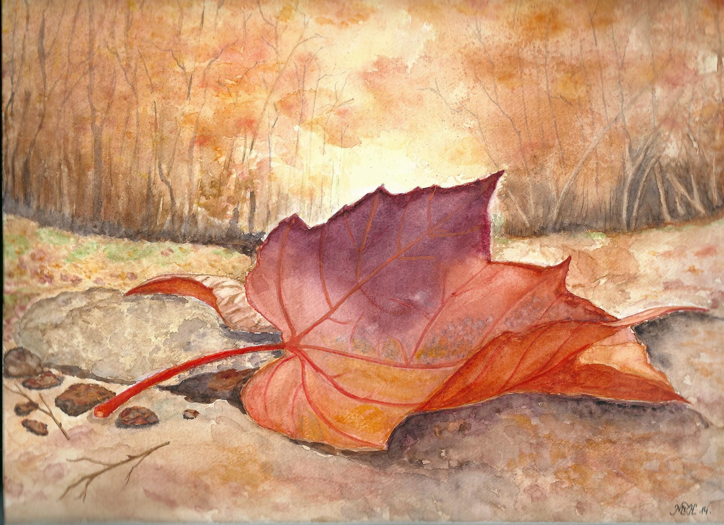"""Aquarelle n°44: """" Feuille d'automne """""""