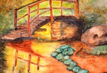 """Aquarelle n°46 """"Le petit pont de bois"""""""