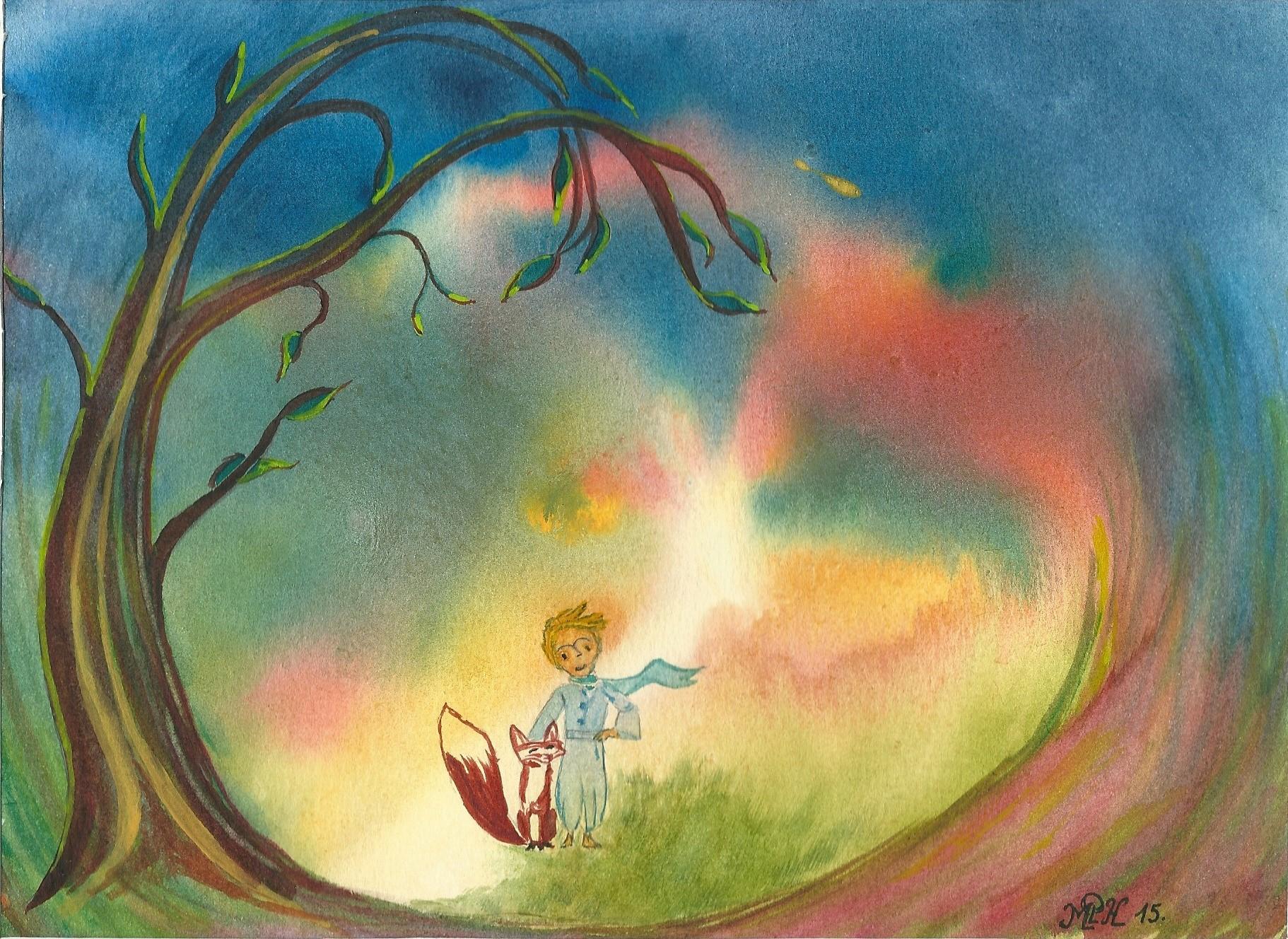 """Aquarelle n°52: """"Le Petit Prince et le Renard"""""""