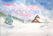 "Aquarelle n°54: ""Paysage hivernal"""