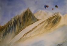 """Aquarelle n°58: """"Paysage hivernal de montagne"""""""