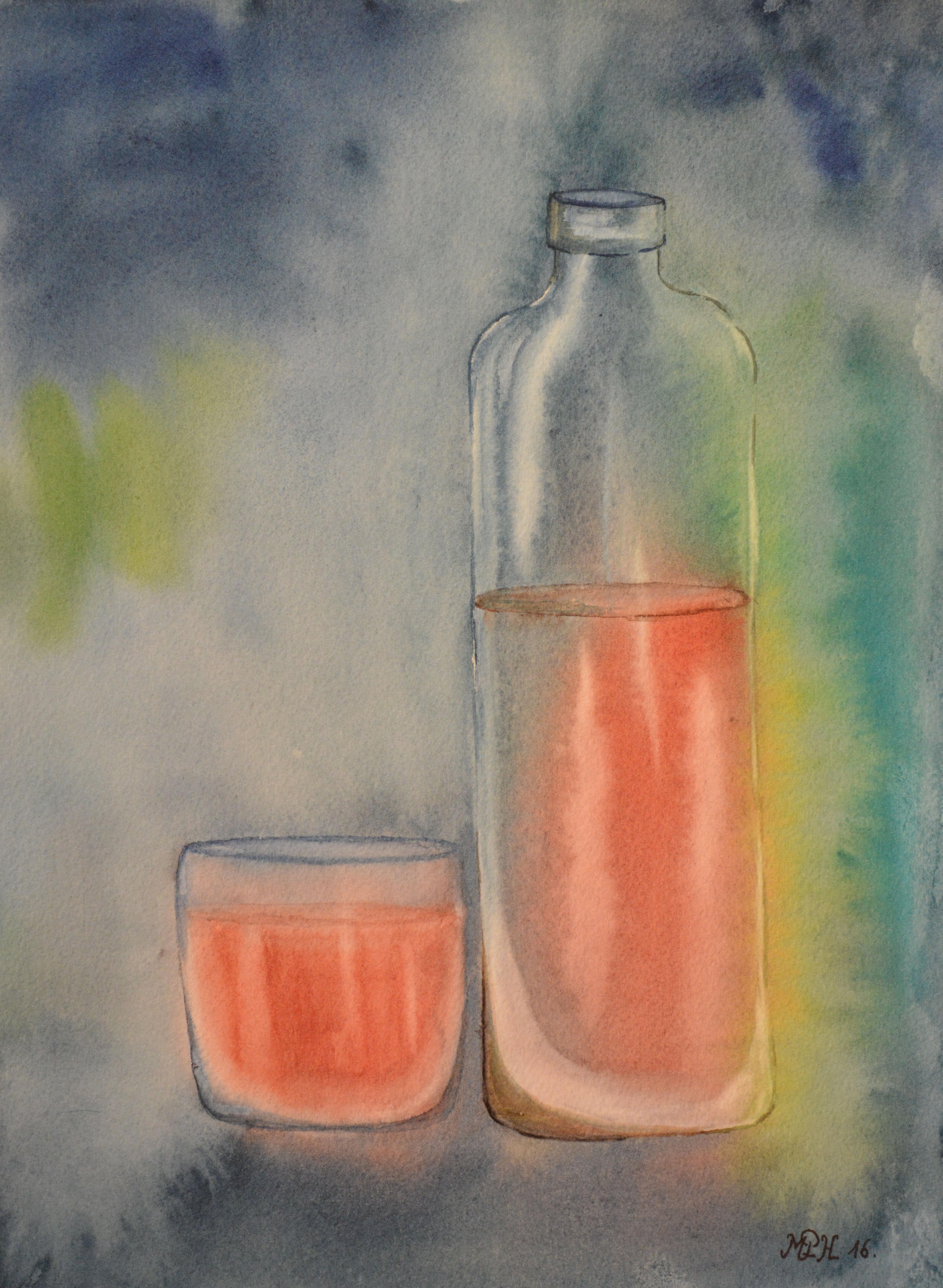 """Aquarelle n°59: """"Bouteille & verre"""""""