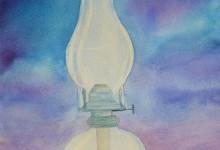 """Aquarelle N°63: """" Lampe à pétrole """""""