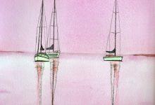 """Aquarelle n°80: """"..♫..c'est en septembre quand les voiliers sont dévoilés..♫.."""""""