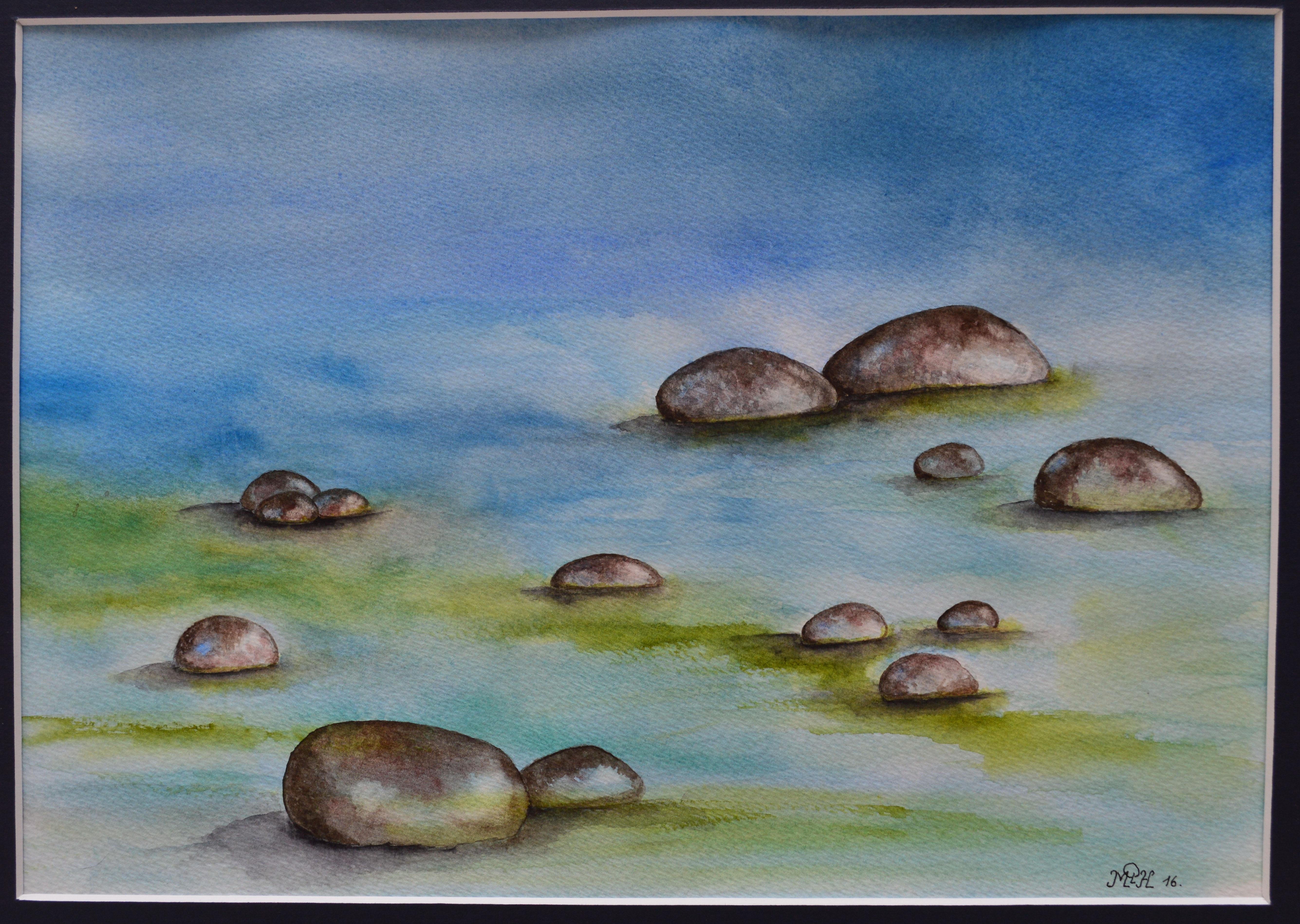 """Aquarelle n°83: """"Le ruisseau fredonne la bouche pleine de cailloux"""""""