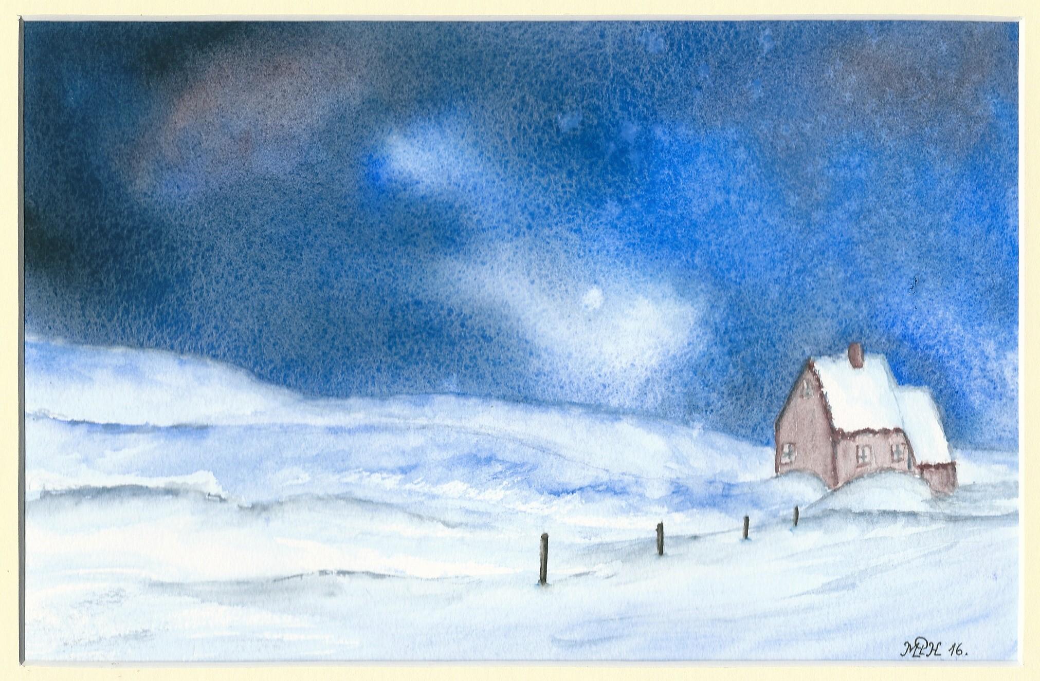 """Aquarelle n°85: """"Paysage nocturne d'hiver I"""""""