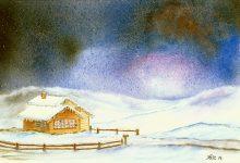 """Aquarelle n°86: """"Paysage nocturne d'hiver II"""""""