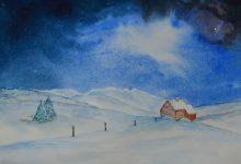 "Aquarelle n°87: ""Paysage nocturne d'hiver III"""