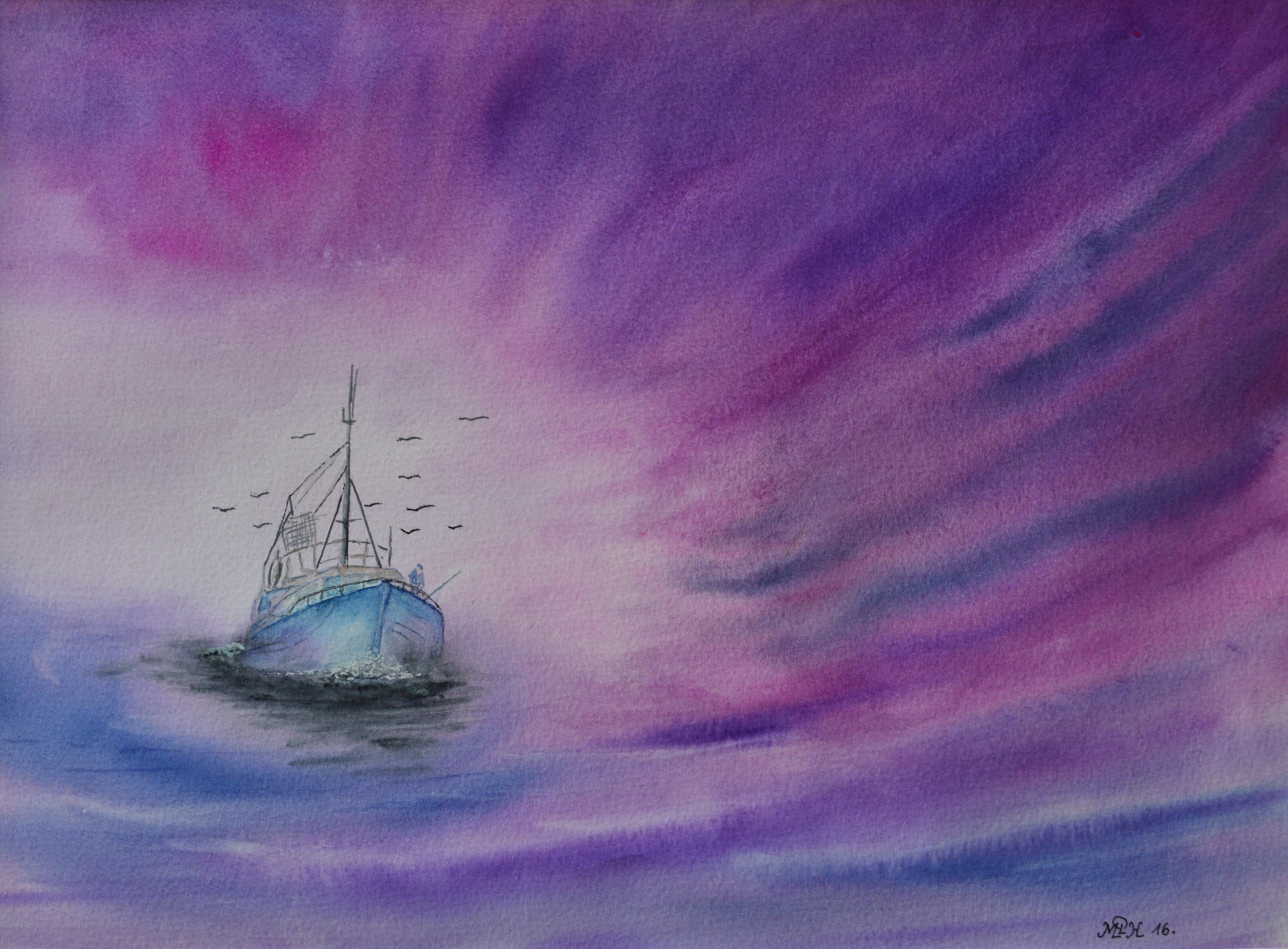 """Aquarelle n°88: """"Retour de pêche I"""""""