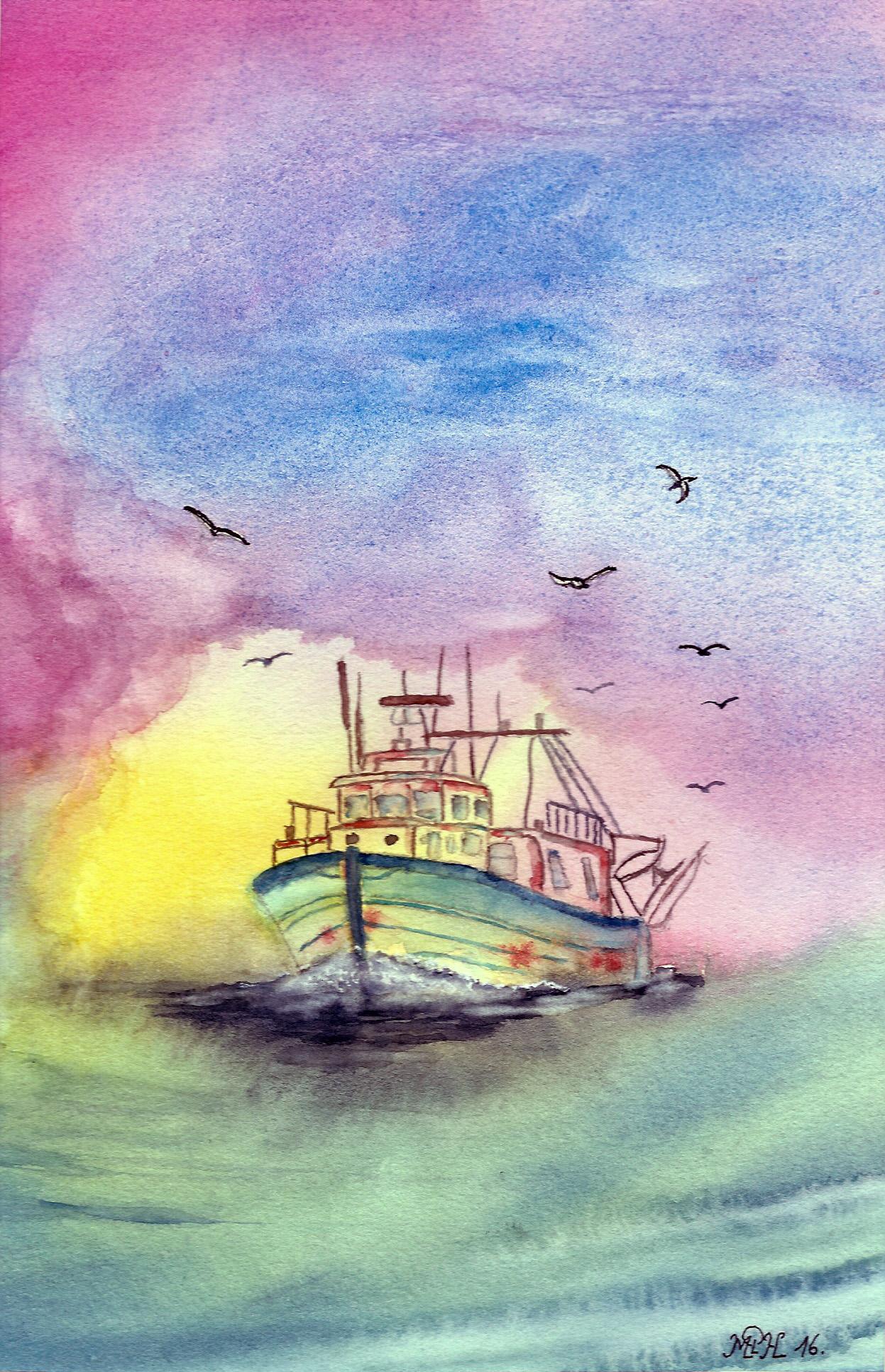 """Aquarelle n°89: """"Retour de pêche II"""""""