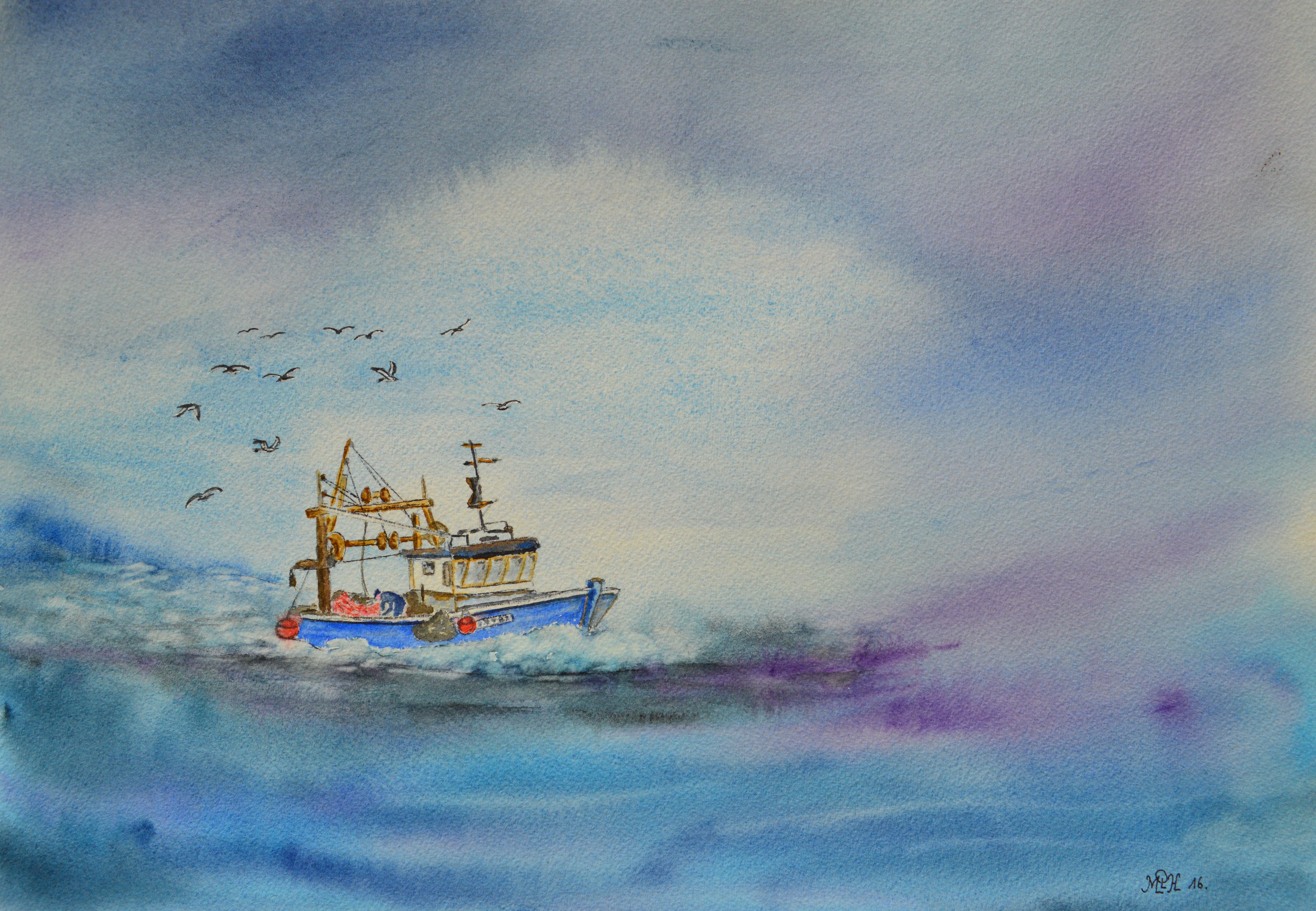 """Aquarelle n°90: """"Retour de pêche III"""""""