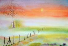 """Aquarelle n°107: """"Prairie embrumée"""""""