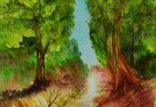 Aquarelle n°110: ♫ Ce petit chemin...qui sent la noisette ♫ Ce petit chemin...qui n'a ni queue ni tête ♫